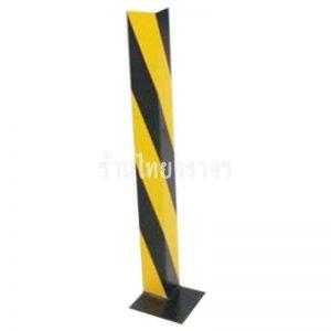 เหล็กกันชนขอบเสาพร้อมเพลท 1000x100x100 mm. ทำสีเหลือง-ดำ