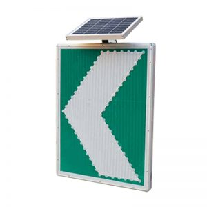 ป้ายไฟเตือนทางโค้งพลังงานแสงอาทิตย์สีเขียว